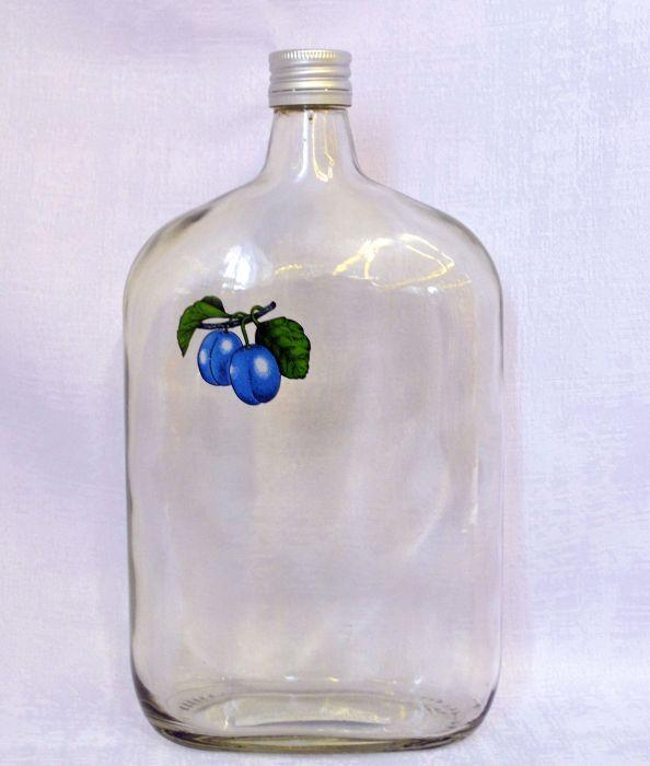 láhev 1,0l ŠVESTKA (placatka)+kov.uzávěr