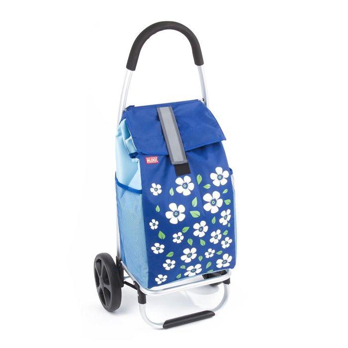 taška s kolečky PARIS ALDO, šedá/modrá, vel.kola, kov.rám