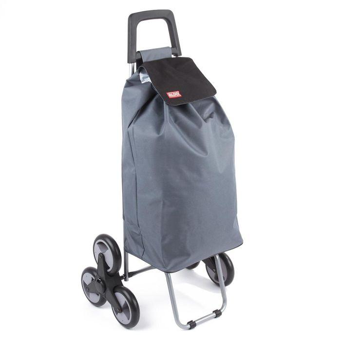 taška s kolečky, MADRID ALDO, šedá/fial.,na schody, kov.rám