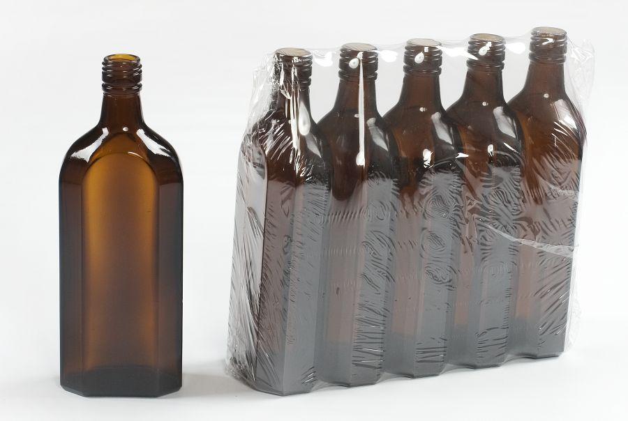 láhev 0,5l - 5ks HNĚDÁ 8boká, šroubení SPECIAL, sklo