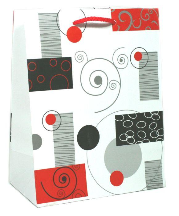 taška dárková L, VZORCE, 26x14x33cm, papír