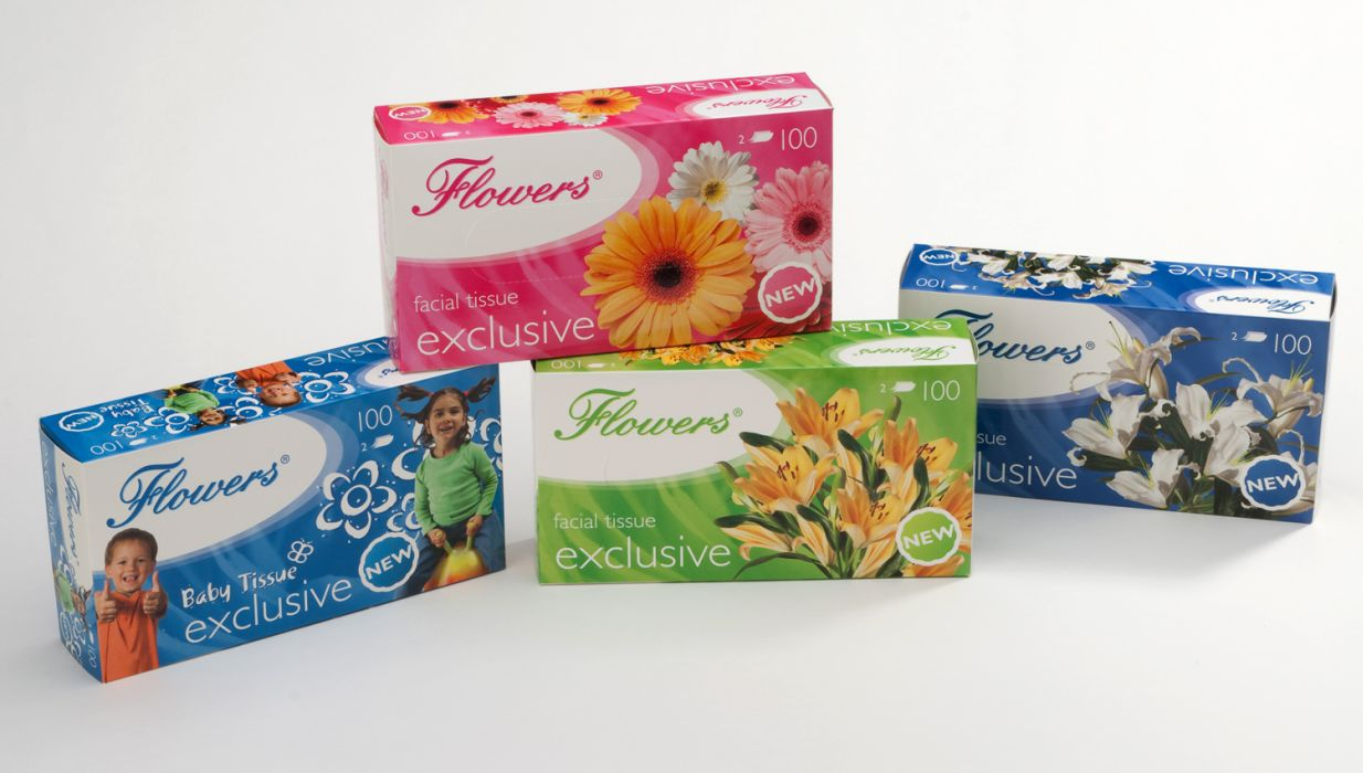 kapesníky kosmet.2vr.,100ks, Flowers,krabička,4dekory