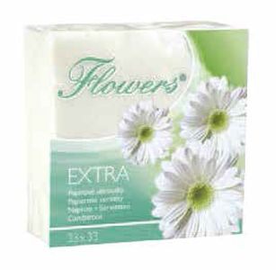 ubrousky 1vr.,70ks,135g,Flowers,33x33cm,bílé