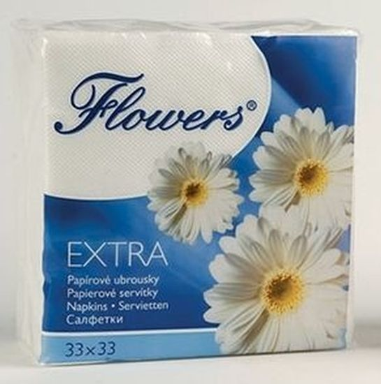 ubrousky 1vr.,100ks,145g,Flowers,33x33cm,bílé