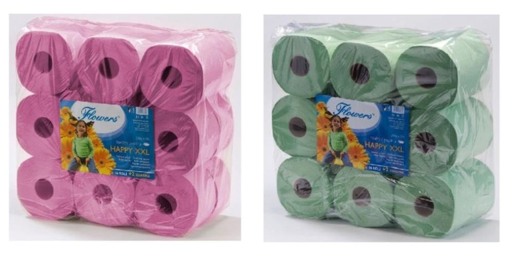 papír toal.2vr.,55m,200g,16+2role zdarma,Flowers HAPPY XXL,recykl.