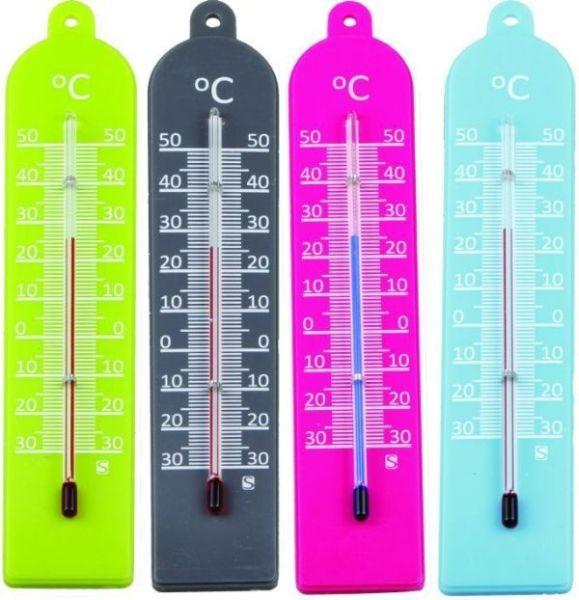 teploměr 17,0x3,5cm univ., -30°C+50°C, PLASTIC MIX barev