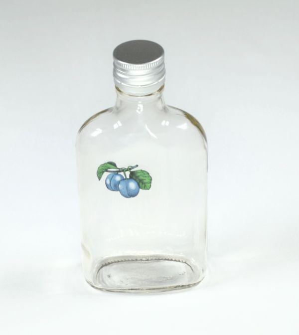 láhev 0,2l ŠVESTKA (placatka)+kov.uzávěr, sklo