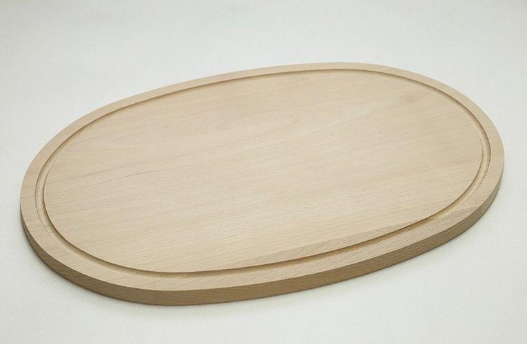 prkénko 37x29cm s drážkou, ovál, dřevo