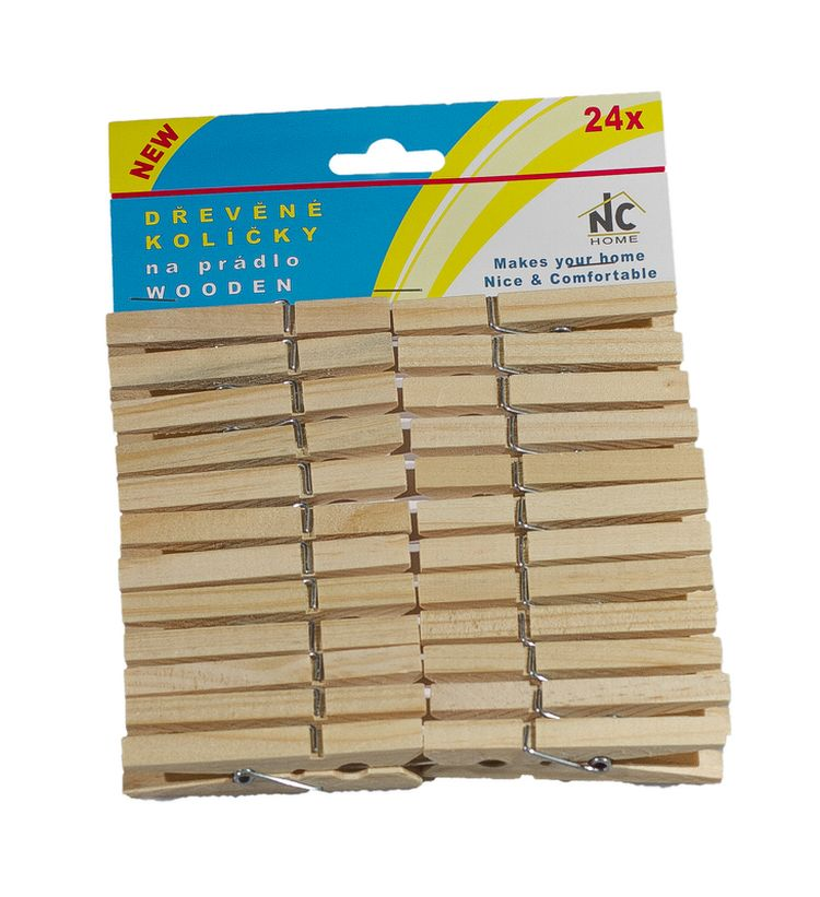 kolíčky 24ks, 7,2x0,9x1,4cm, dřevěné