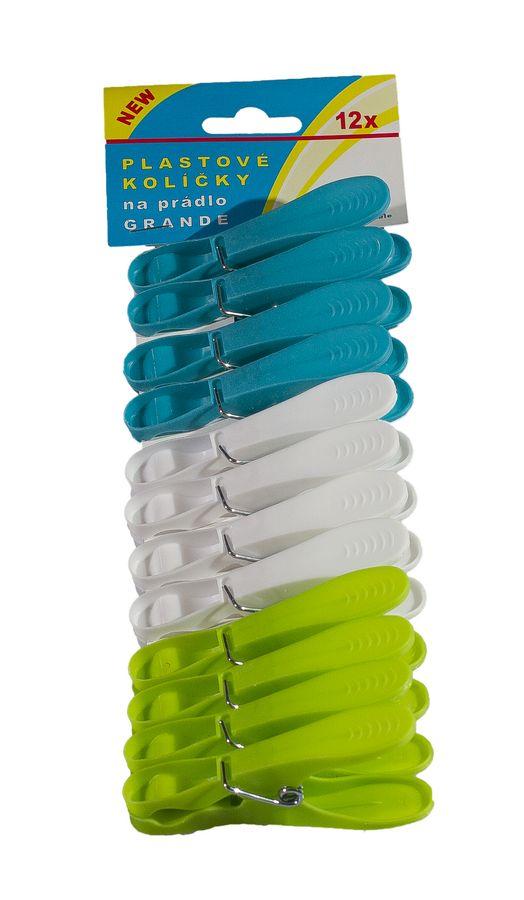 kolíčky 12ks GRANDE,  8,3cmx1,5cm, prádelní, plast