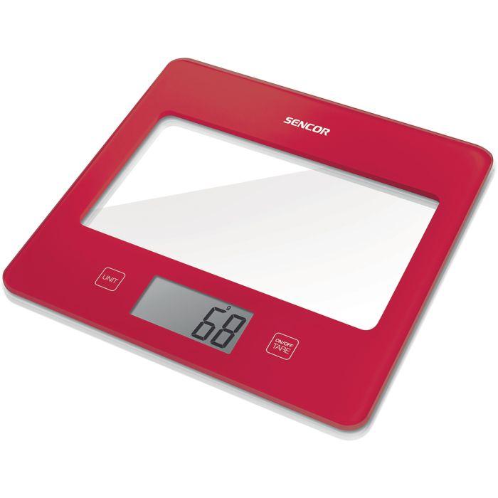 váha  5kg kuch.dig., červená, SENCOR, 20x18x1,6cm