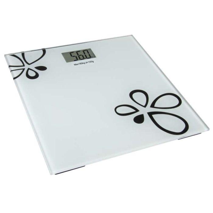 váha 180kg osobní, KVĚT, bílá, sklo, digit.