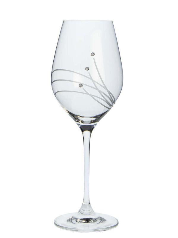 sklen. 360ml, 2ks, 30538, d8x22,5cm, Swarovski-víno