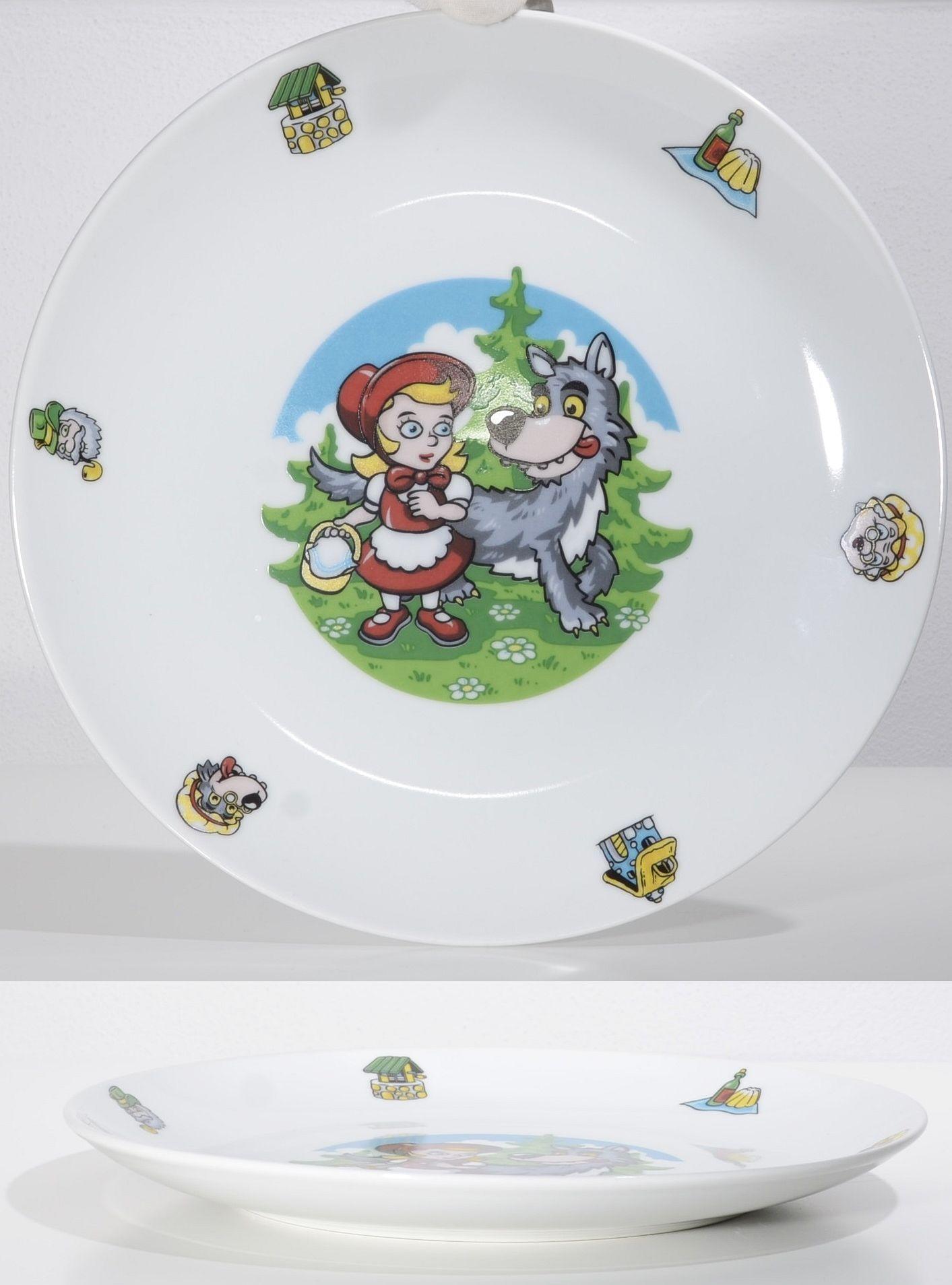 talíř d21cm mělký, KARKULKA dětský, porcelán
