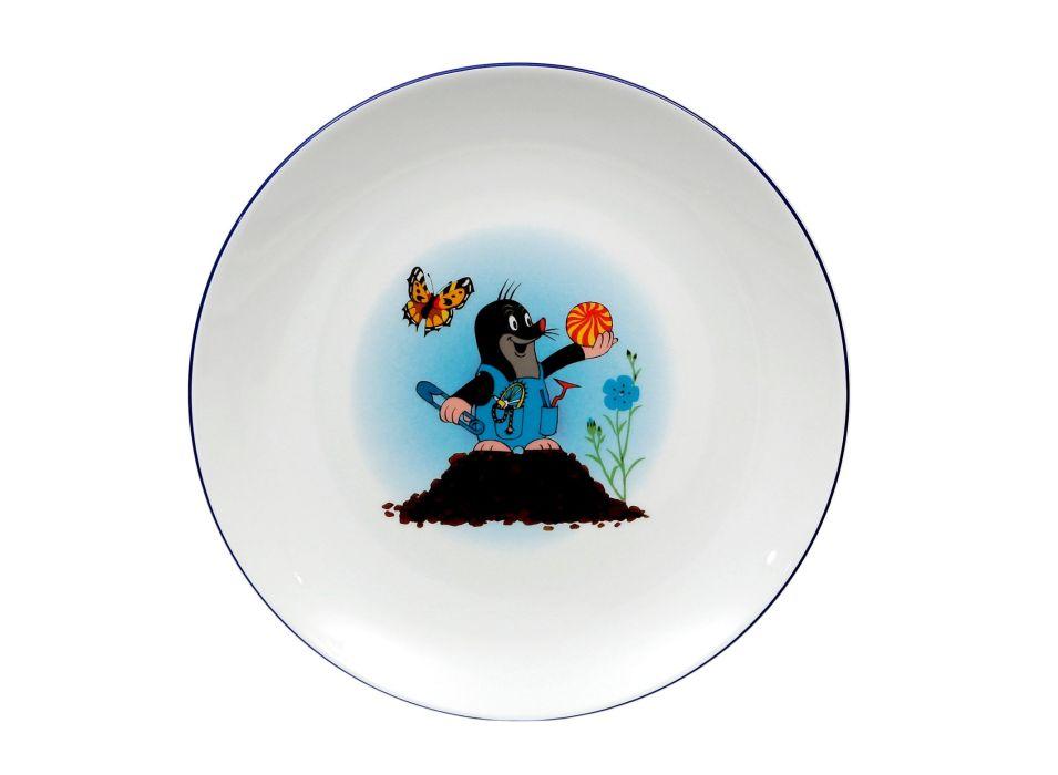 talíř d21cm mělký, KRTEK a hromád,,dětský,český porc.