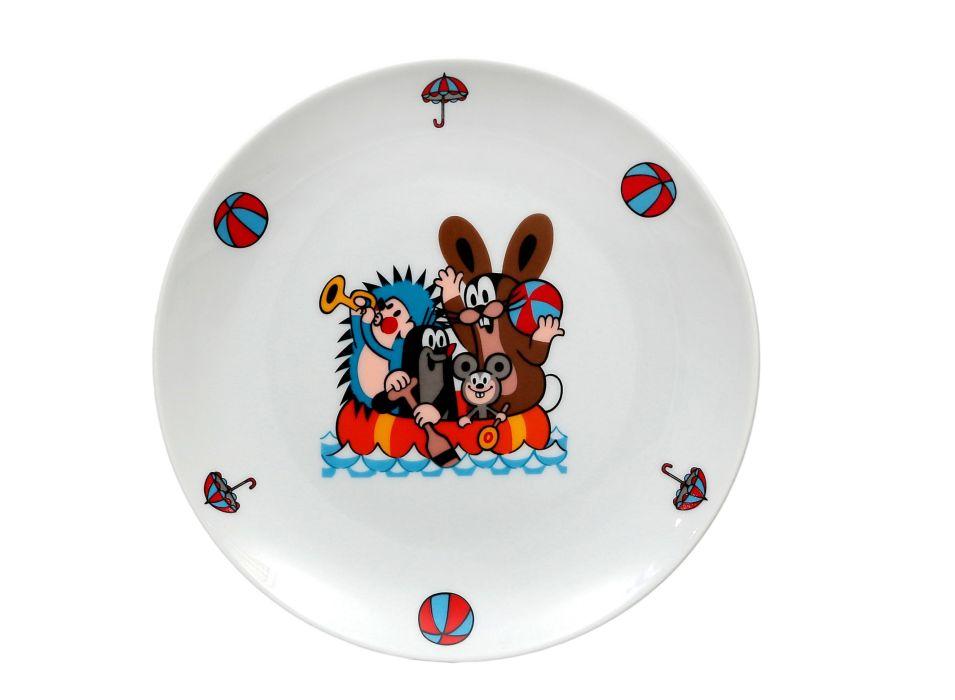 talíř d21cm mělký, KRTEK a člun,dětský,český porc.