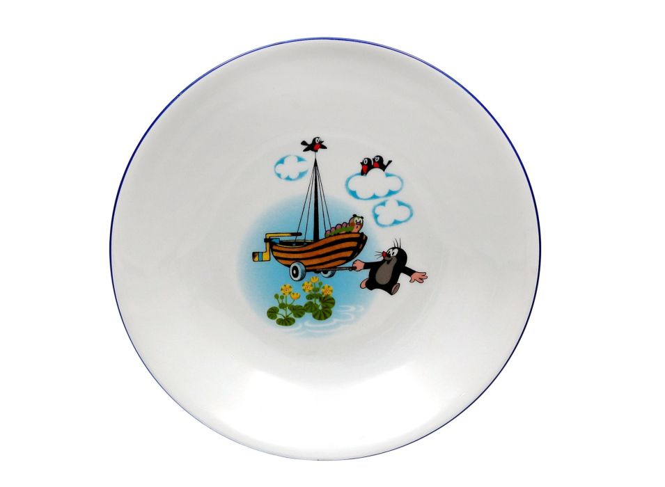 talíř d20cm hluboký, KRTEK a loďka, dětský,český porc.