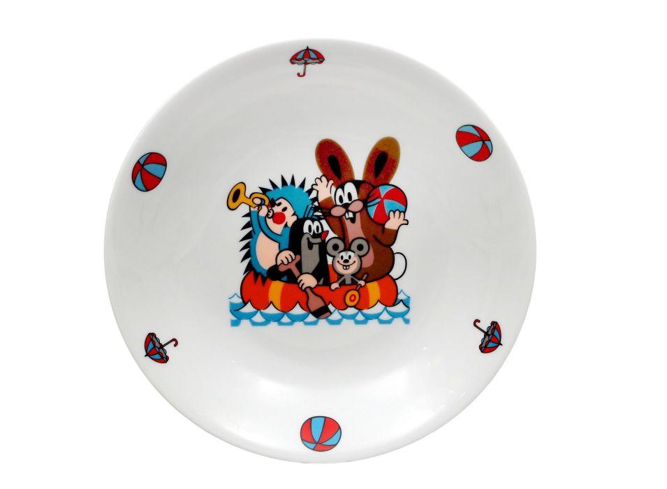 talíř d20cm hluboký, KRTEK a člun, dětský,český porc.