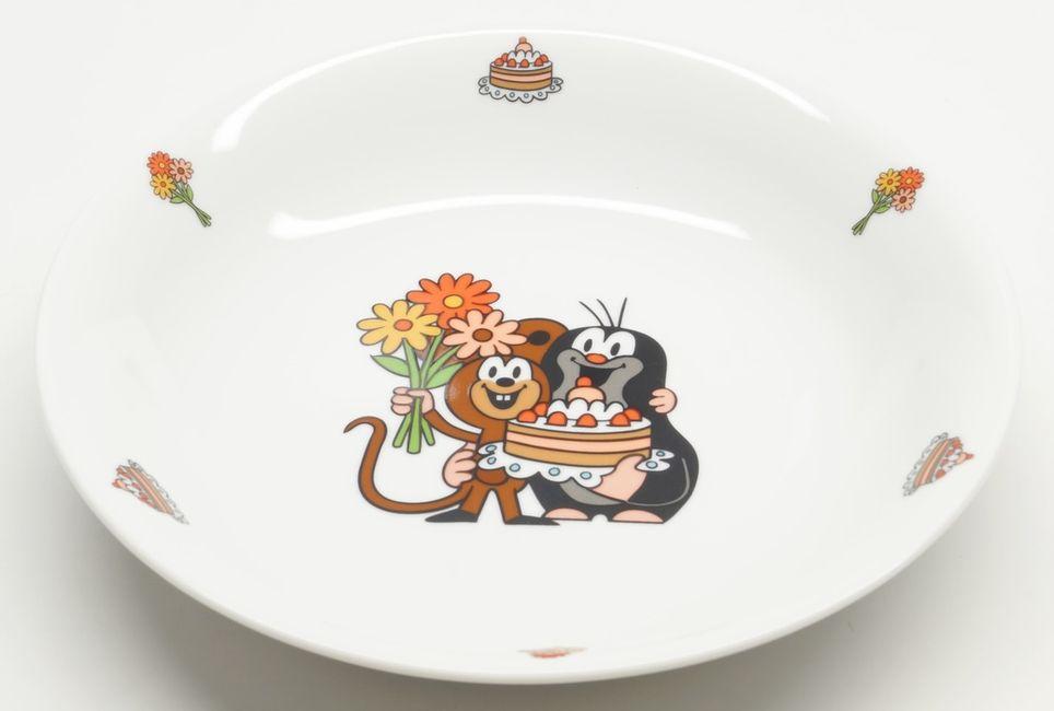 talíř d20cm hluboký, KRTEK a dort, dětský,český porc.