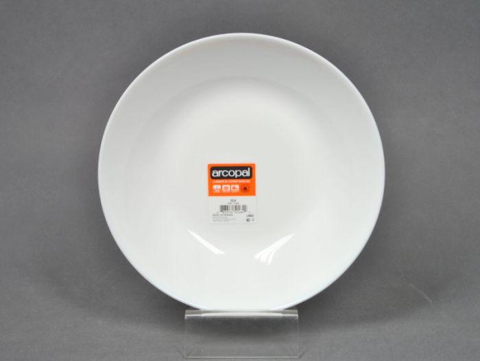 talíř d20cm hluboký, ZÉLIE, bílý SKLO