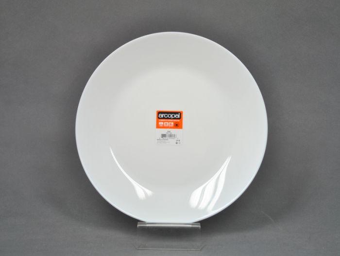 talíř d25cm mělký, ZÉLIE bílý, SKLO