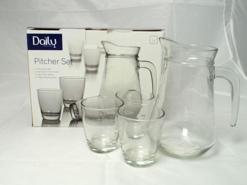 džbán 1,0l DAILY+6ks sklen.0,2l, čiré sklo