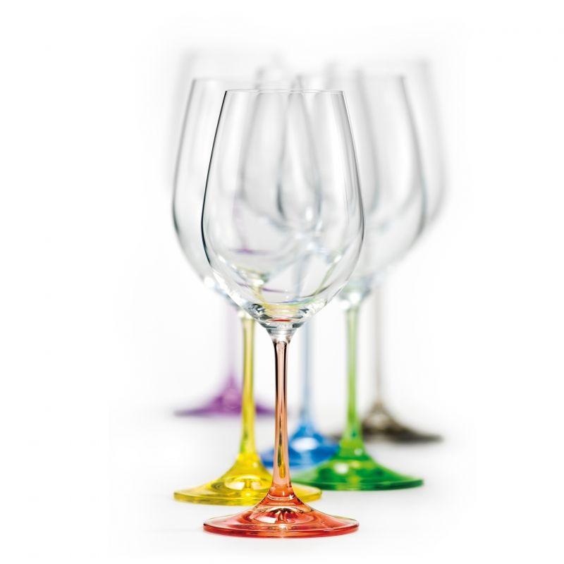sklen. 350ml, 6ks, VIOLA, dek.Rainbow, víno