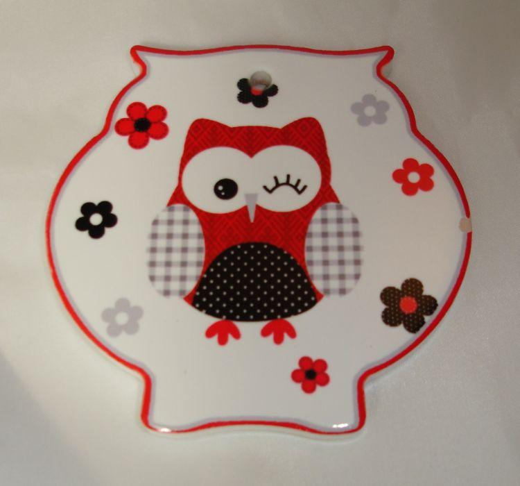 podložka 11cm SOVA červená-porcel/korek-tvar