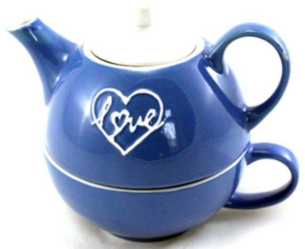 konvice modrá LOVE Reliéf+šálek+podšálek, keramika
