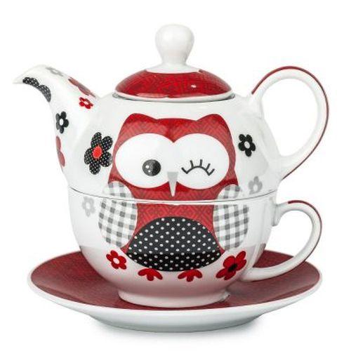 konvice SOVA červená+šálek+podšálek, porcelán
