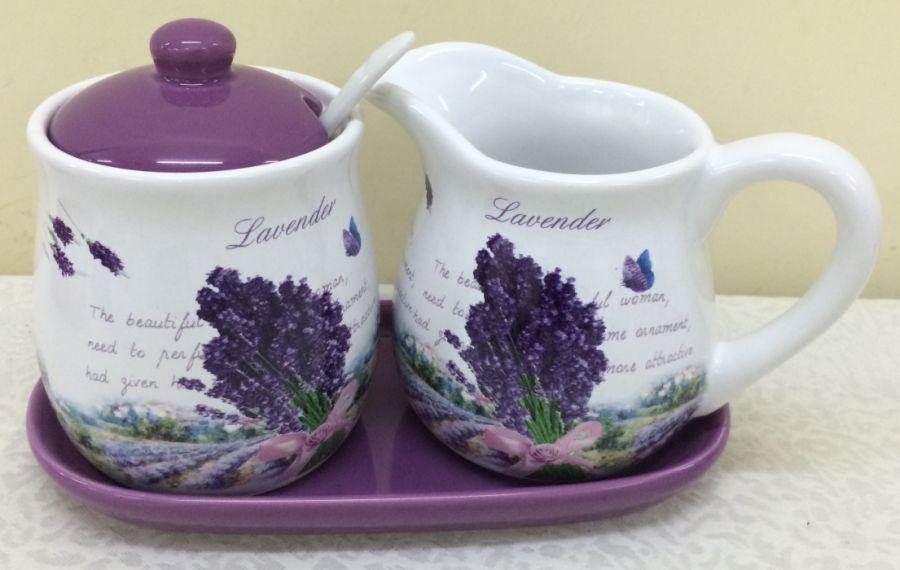 cukřenka+mlékovka LEVANDULE keramika