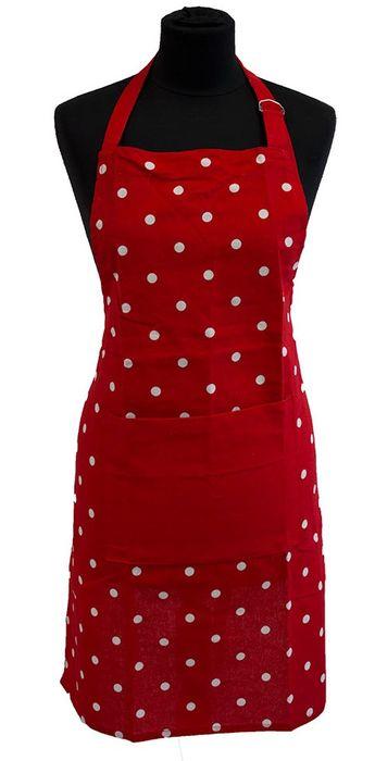 zástěra 80x60cm červená, PUNTÍK bílý, textil  *PO 31.5.