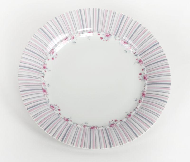 talíř d26,0cm mělký, VL043-růže-proužek, čes.porcelán