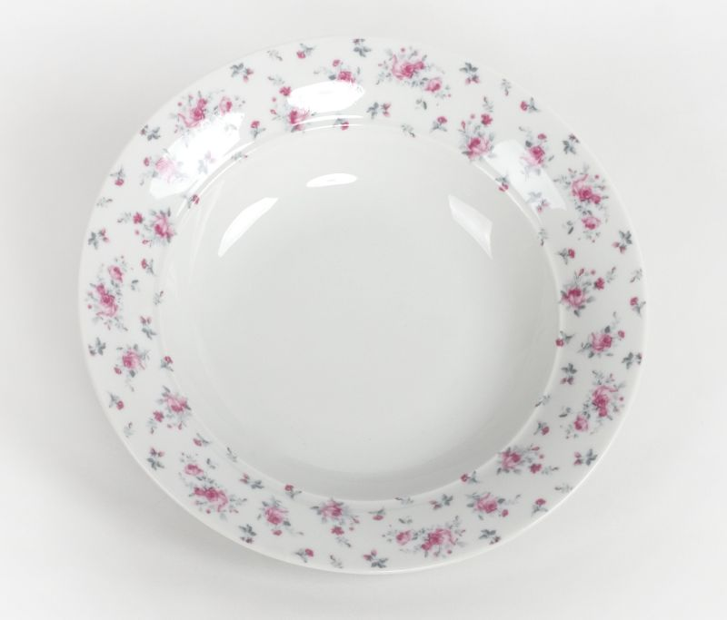 talíř d23,0cm hlub., VL043-růže, čes.porcelán