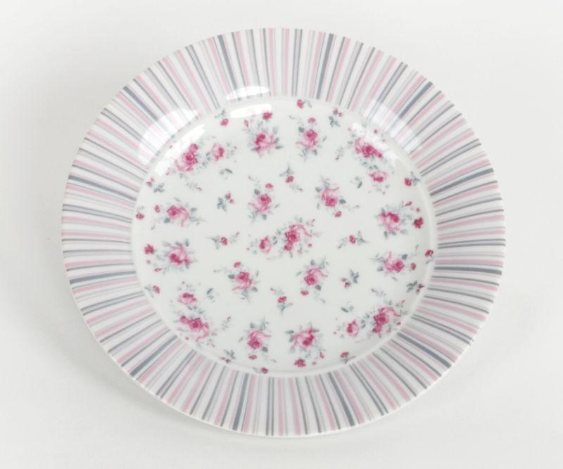 talíř d19,0cm dez,, VL043-růže-proužek, čes.porcelán