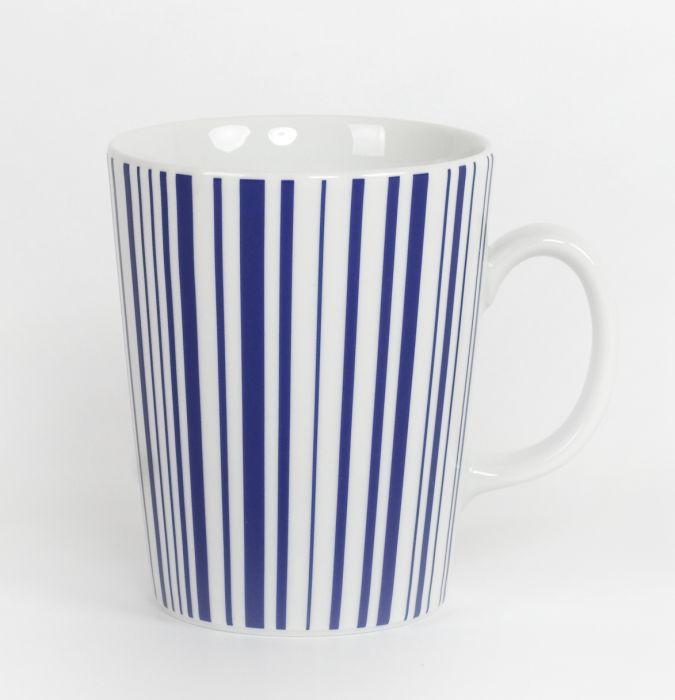 hrnek 300ml kónický, modrý proužek, čes.porcelán