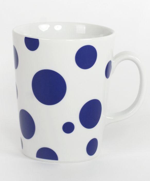 hrnek 300ml kónický, modrý puntík, čes.porcelán