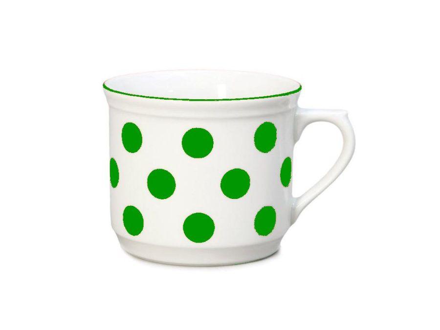 hrnek 630ml VAŘÁK-zelený puntík-1jak.THUN,porcelán