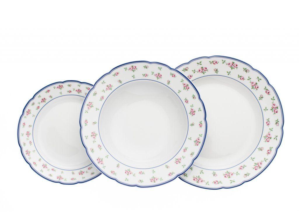 soupr.18díl.jídelní ROSE I růžičky modré, THUN český porc.