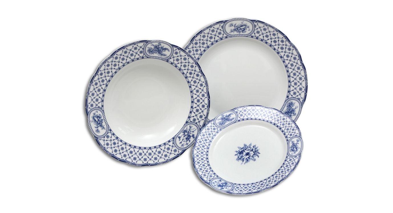 soupr.18díl.jídelní ROSE I modrá, THUN český porc.