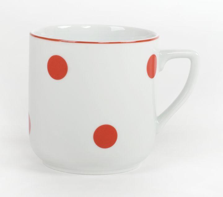 hrnek 400ml PĚTKA-Červ.puntík, čes.porcelán