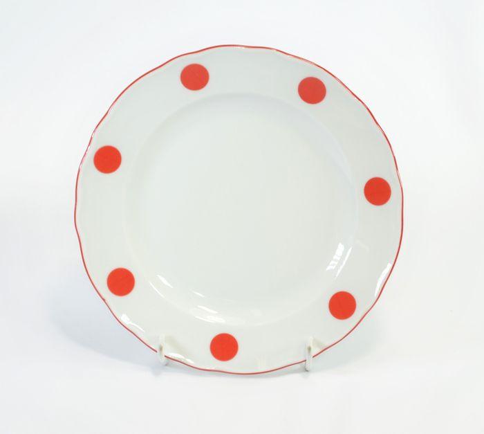 talíř d19cm dezertní ČERVENÝ PUNTÍK, čes.porcelán