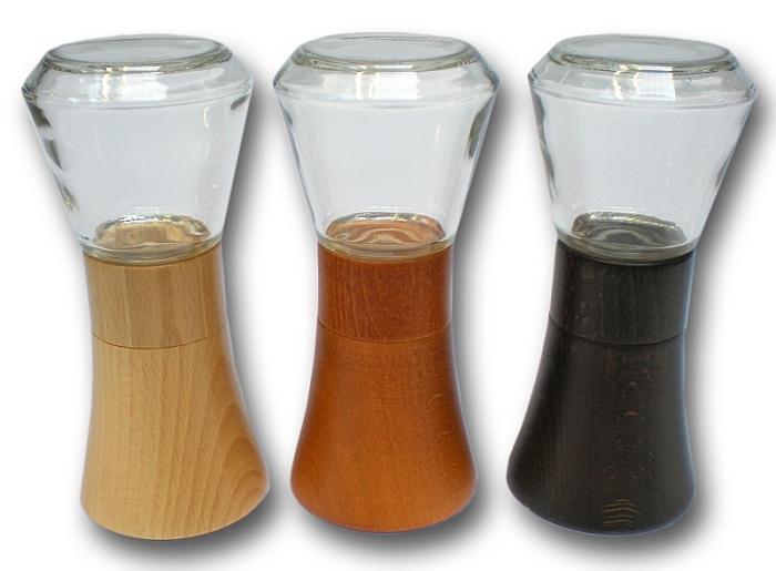 mlýnek FARO na koření,sklo+přírodní dřevo