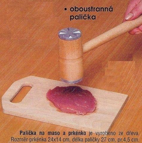 palička na maso, EKO, oba konce kov, dřevo/kov