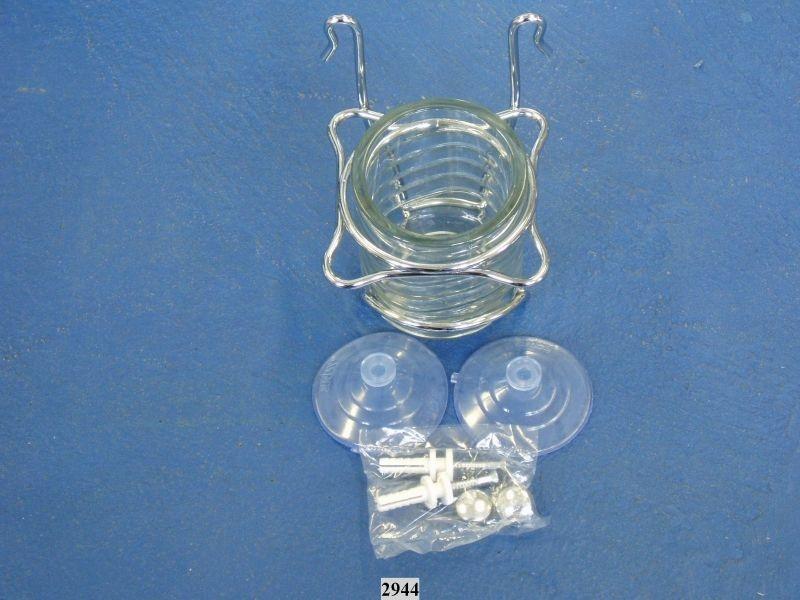 držák zub.kartáčků+pasty/29.14.40/,kov+sklo,přísavky