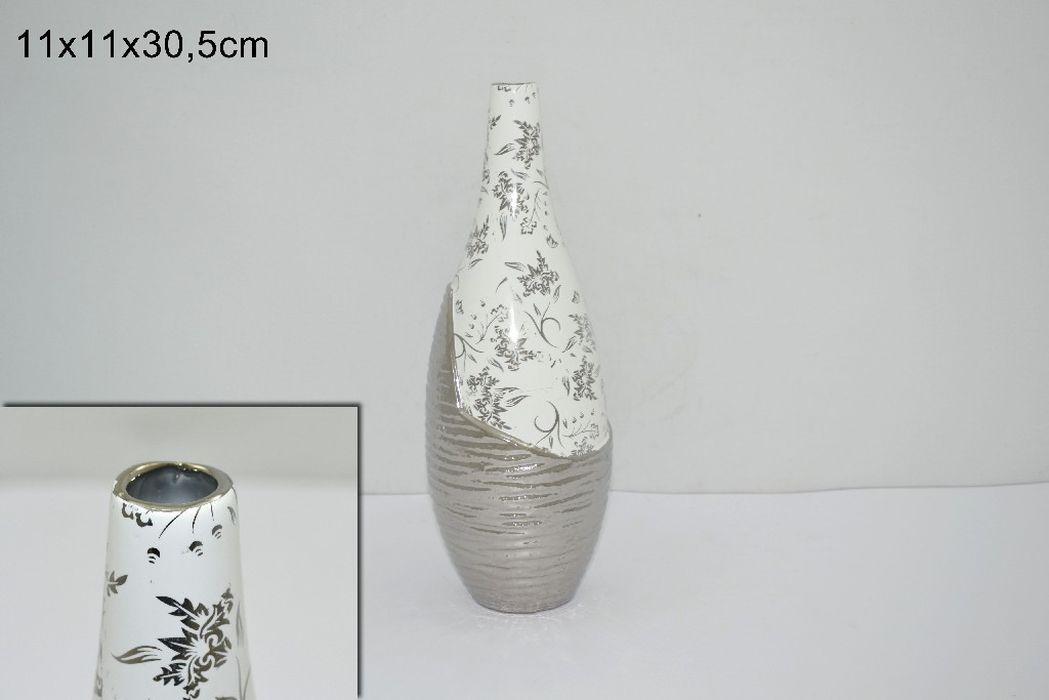 váza d11x30,5cm, baněná úz. hrdlo, bílostříbrná keram.