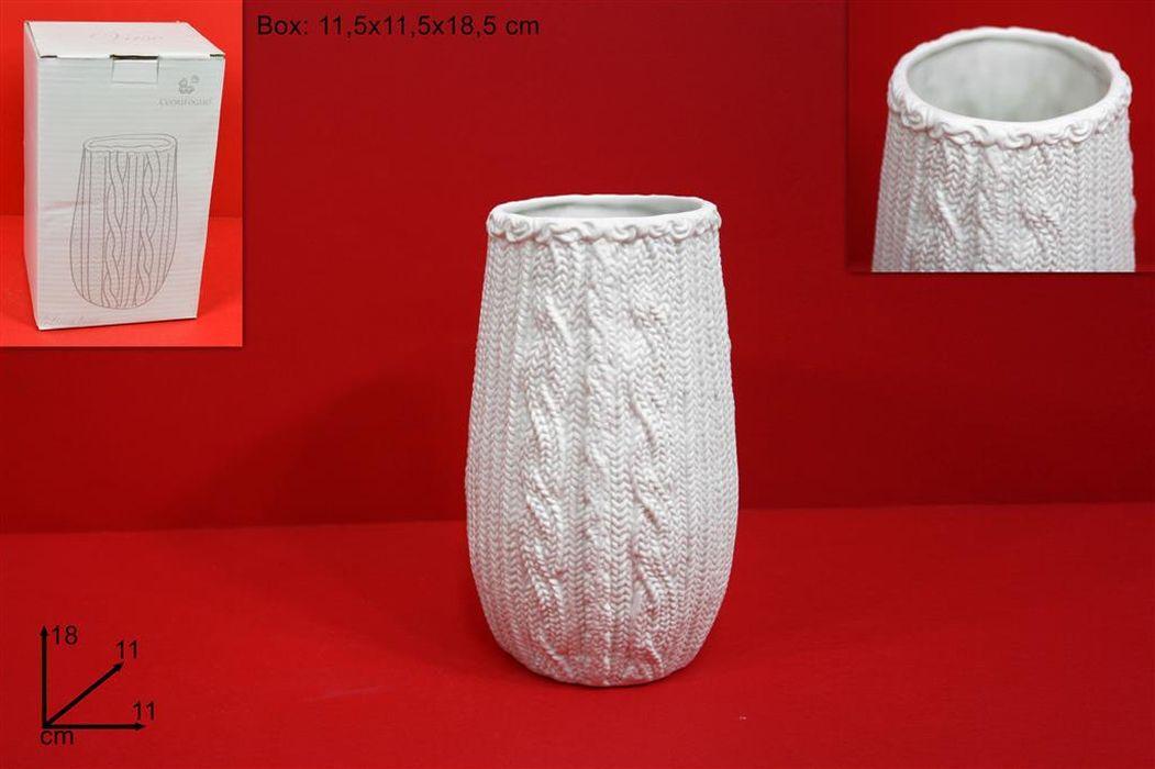 váza d8,5x18,5cm baněná, bílá ozdob. ker.