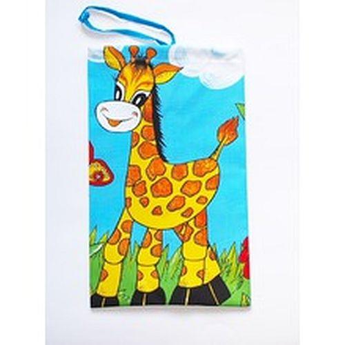 pytlík na přezůvky Žirafa 23x35cm, textilní