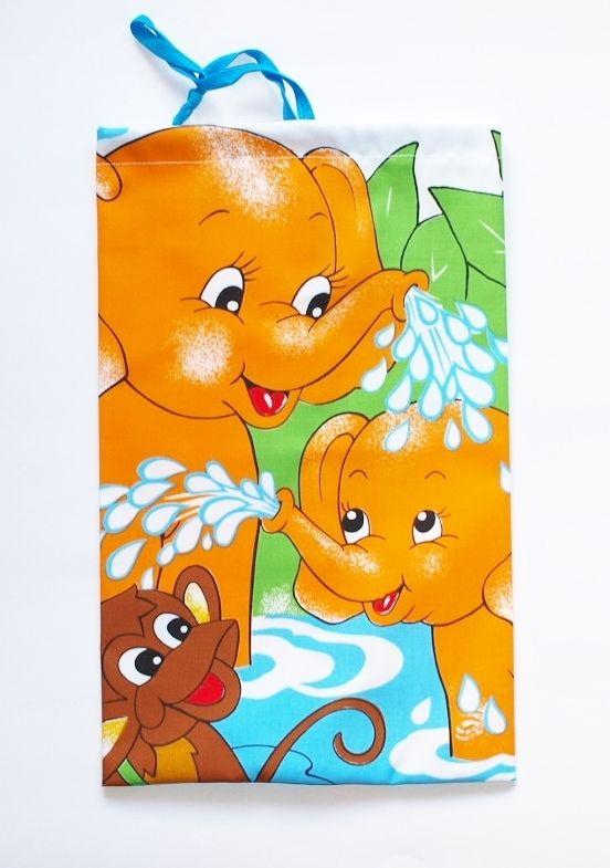 pytlík na přezůvky Slon oranž.23x35cm, textilní