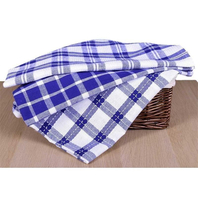 utěrka 3ks 70x45cm-MODRÁ-kuch., 100%bavlna